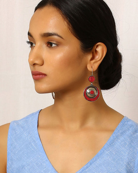 Handcrafted Brass Drop-Earrings By Indie Picks ( Red )