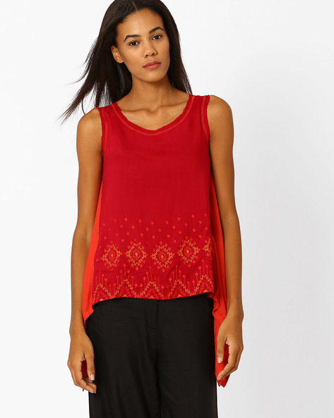Panelled Top With Dipped Hemline By Global Desi ( Red )