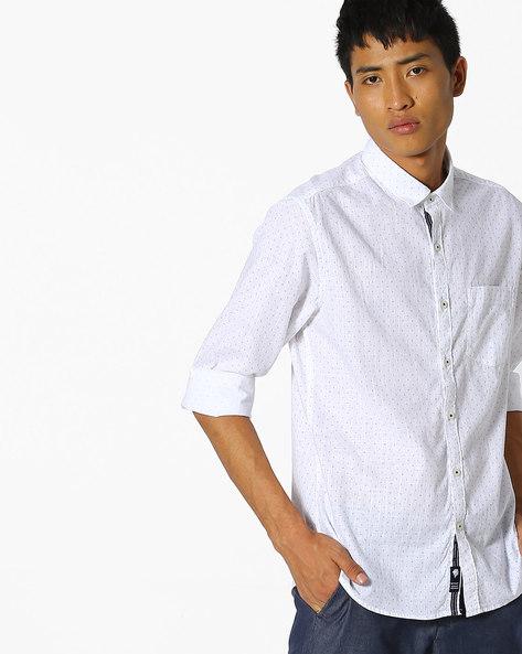 Printed Slim Fit Shirt By NETPLAY ( White )