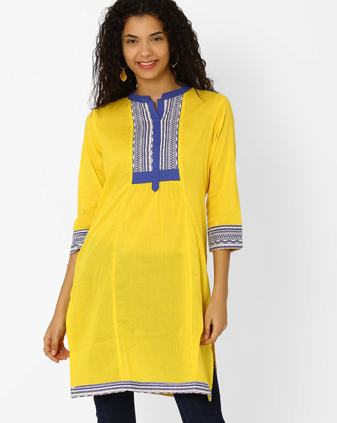 Kurta With Contrast Yoke By AJIO ( Yellow )