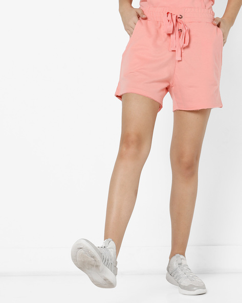 Mid-Rise Shorts With Front Lace-Up By AJIO ( Coral )