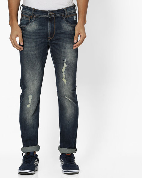 Mid-Washed Distressed Jeans By Pepe Jeans ( Blue )