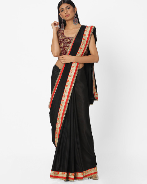 Embroidered Crepe Saree By Majestic Silk ( Black )