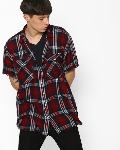 Checked Shirt With Curved Hem By ADAMO LONDON ( Multi )