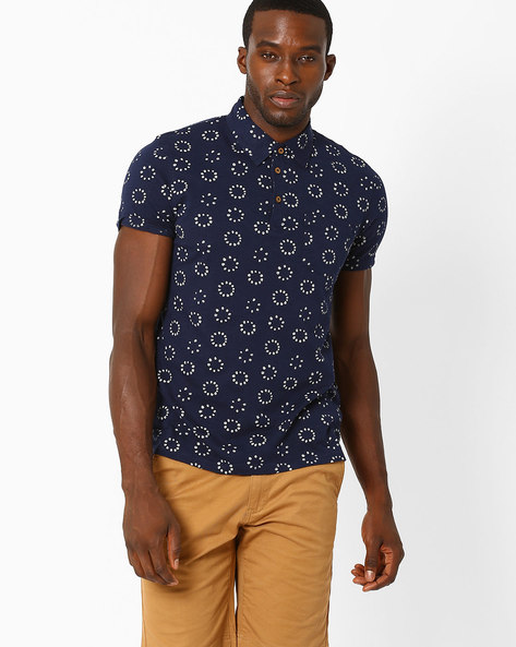 Printed Regular Fit Polo T-shirt By Celio ( Indigo )