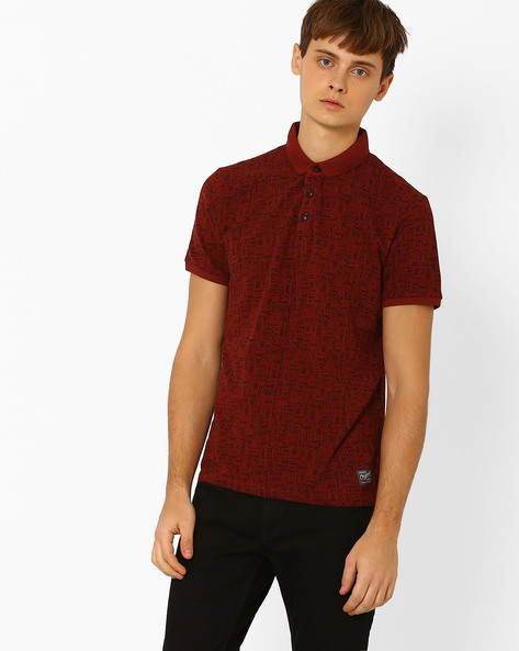 Printed Slim Polo T-shirt By Jack & Jones ( Maroon )