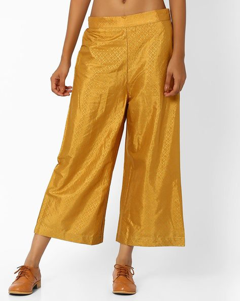 Printed Culottes With Side Zipper By W ( Yellow )