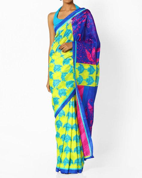 Printed Saree With Contrast Pallu By Runalaila ( Blue )