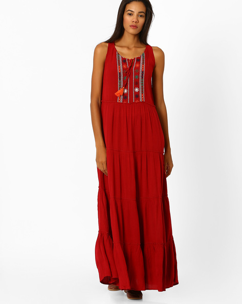 Sleeveless Panelled Gown By Global Desi ( Red )