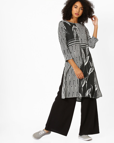 Printed Straight Kurta By Global Desi ( Black )