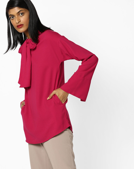 Pussy-Bow Top With Curved Hemline By AJIO ( Red )
