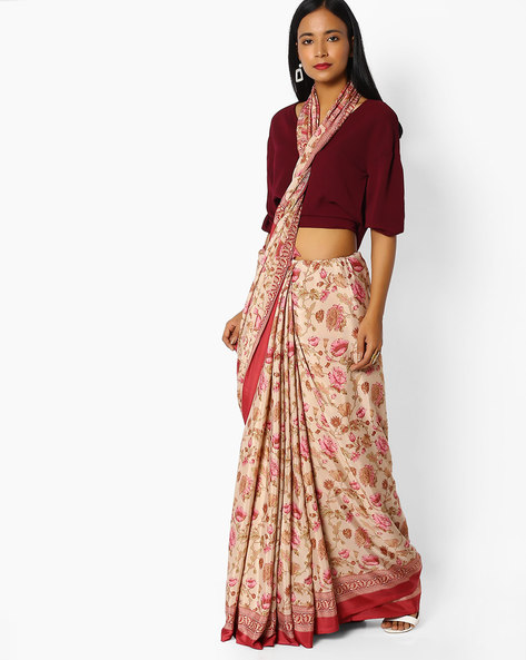 Peony Floral Print Crepe Saree By Majestic Silk ( Red )