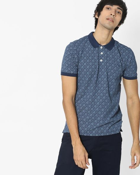 Printed Polo T-shirt By FLYING MACHINE ( Navy ) - 460101066002