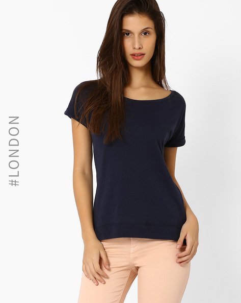 Cotton T-shirt With Upturned Hems By Marks & Spencer ( Navyblue )
