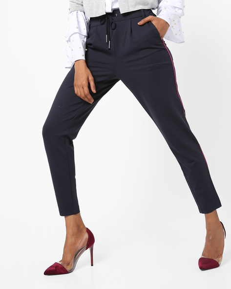 Pleated Trousers With Contrast Piping By Only ( Blue )