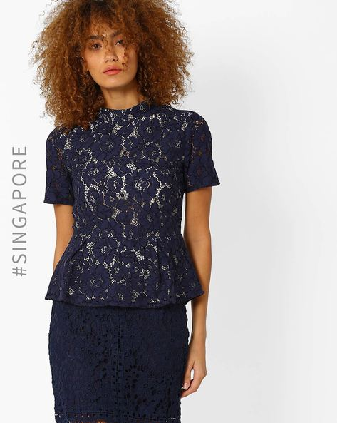 Lace Peplum Top By MDS ( Navyblue )