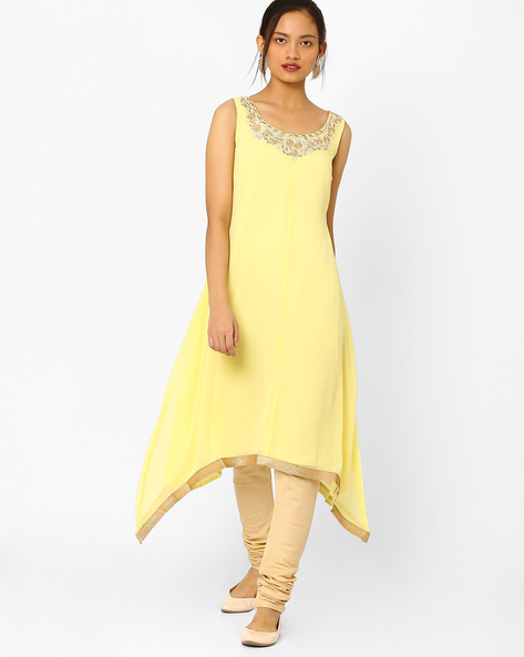 Flared Kurta With Embroidery By AJIO ( Yellow )