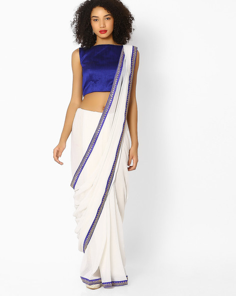 Chiffon Saree With Contrast Border By Vastrangi ( Offwhite )