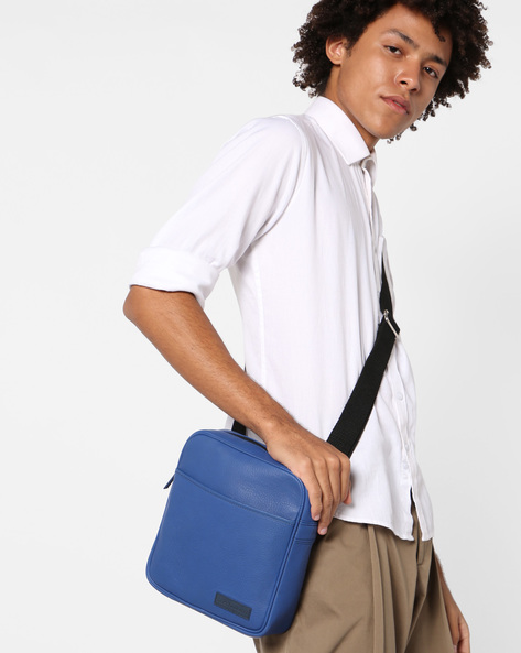 Genuine Leather Crossbody Bag By JUSTANNED ( Blue )