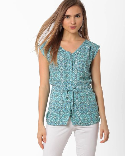 Printed Top With Cap Sleeves By AJIO ( Lightblue )