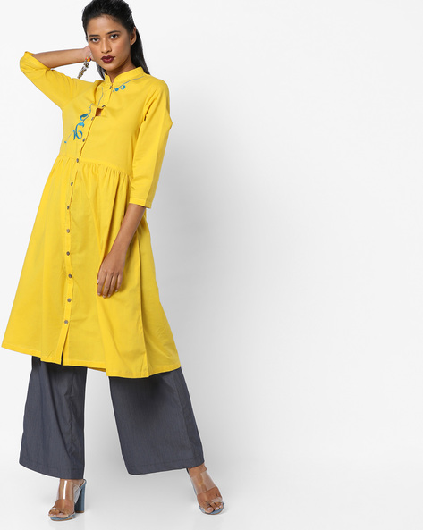 Front-Open Kurta With Placement Embroidery By AJIO ( Olive )