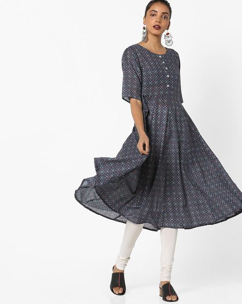 All-Over Print Flared Kurta By Project Eve IW Evening ( Blue )