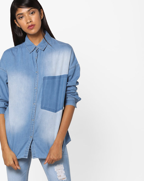 Lightly Washed Denim Shirt By AJIO ( Lightblue )