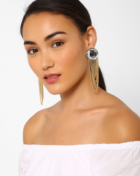 Oversized Stud Earrings With Tassels By Pipa Bella ( Gold )