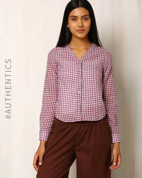 Cotton Khadi Checked Shirt By Red Sister Blue ( Purple )