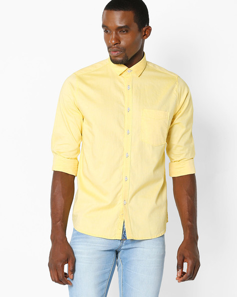 Slim Fit Shirt With Patch Pocket By VIMAL ( Lime )