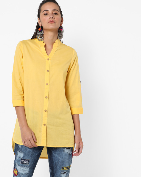 Button-Down High-Low Tunic By AJIO ( Yellow )