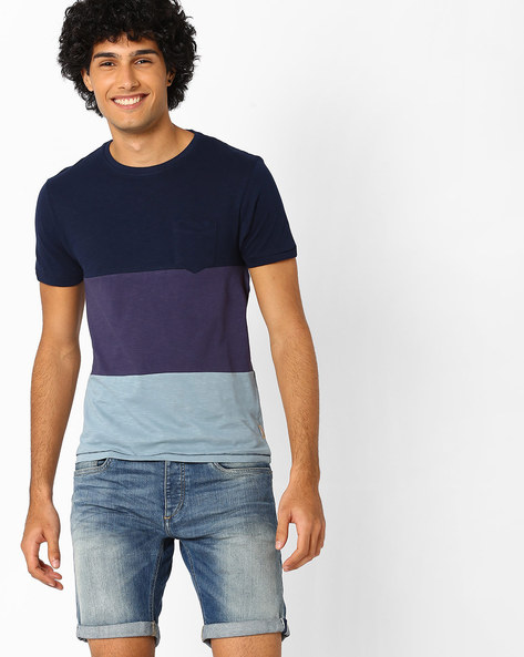 Colourblock Crew-Neck T-shirt By FLYING MACHINE ( Navy )