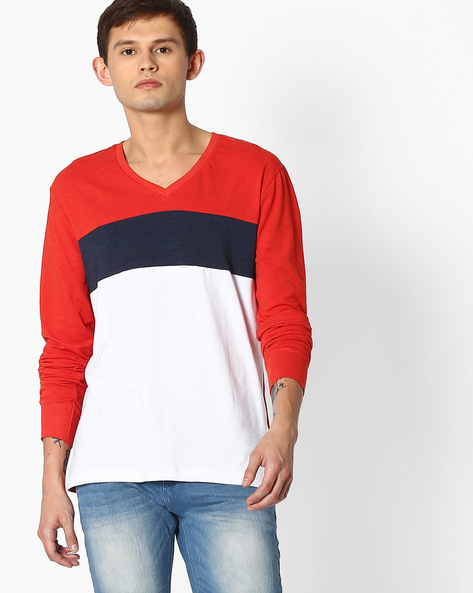 Cut & Sew Slim Fit Colourblock T-shirt By Blue Saint ( Multicolor )