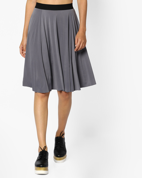 Flared Panelled Skirt By CODE By Lifestyle ( Grey )