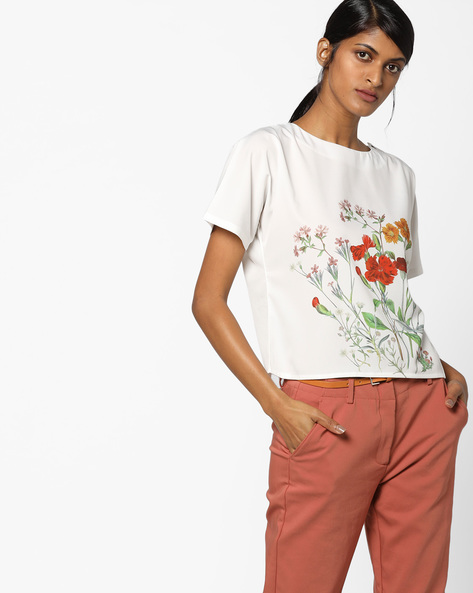 Floral Print Boxy Top By AJIO ( Ivory )