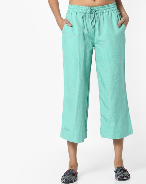 Culottes With Drawstring Waist By Project Eve IW Casual ( Green )
