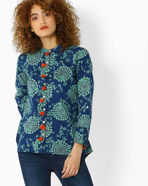 High-Low Printed Shirt With Roll-Up Tabs By Jiyaa ( Indigo )