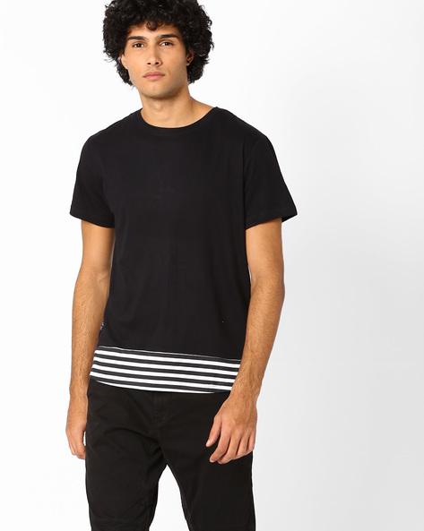 Slim Fit Longline T-shirt By Blue Saint ( Multi )