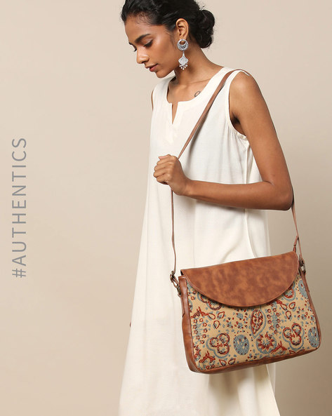 Vegan Leather Crossbody Sling Bag With Ajrak Print By A BIG INDIAN STORY ( Tan )
