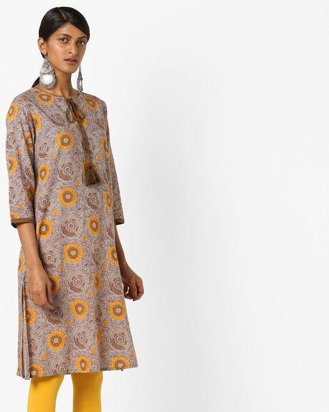 Floral Print Kurta With Tassel Tie-Up By AJIO ( Grey )