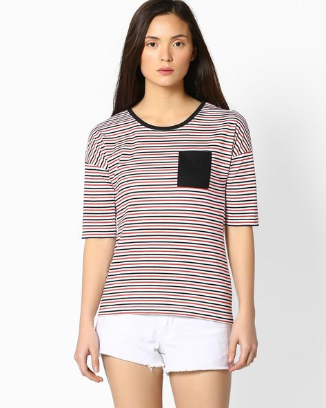 Striped T-shirt With Patch Pocket By TEAM SPIRIT ( Red )