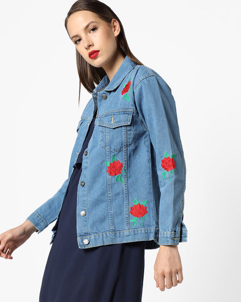 Denim Jacket With Floral Embroidery By INFLUENCE ( Blue )