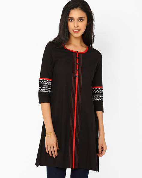 Kurta With Mock Button Placket By AJIO ( Black )