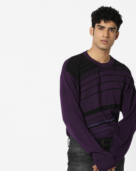 Striped Sweater With Round Neck By FLYING MACHINE ( Assorted )