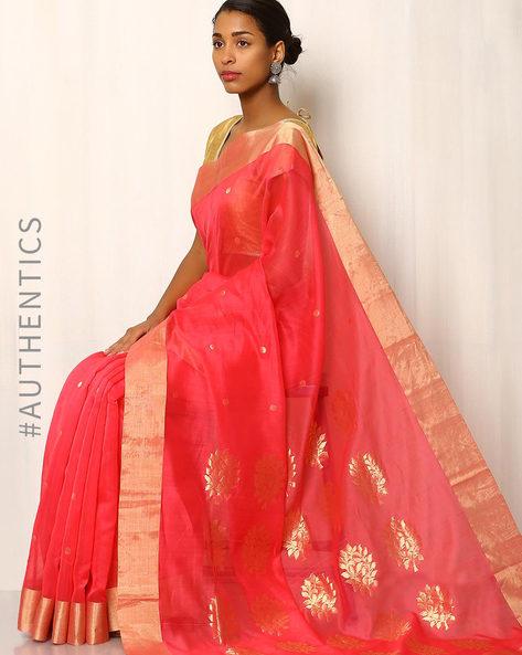 Handwoven Pure Silk Cotton Chanderi Saree By Indie Picks ( Pink ) - 460037187001