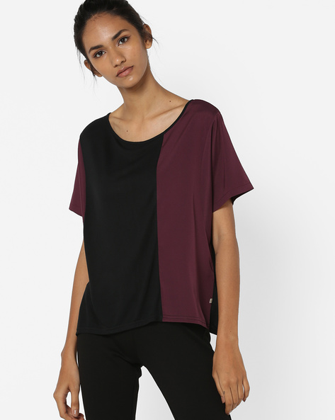 Panelled Colourblock Top By UNITED COLORS OF BENETTON ( Black )