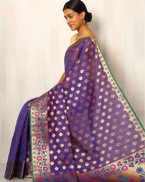 Banarasi Woven Zari Cotton Silk Saree By Indie Picks ( Purple )