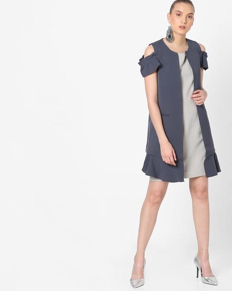 Cold-Shoulder Longline Coat By Vero Moda ( Sblue )