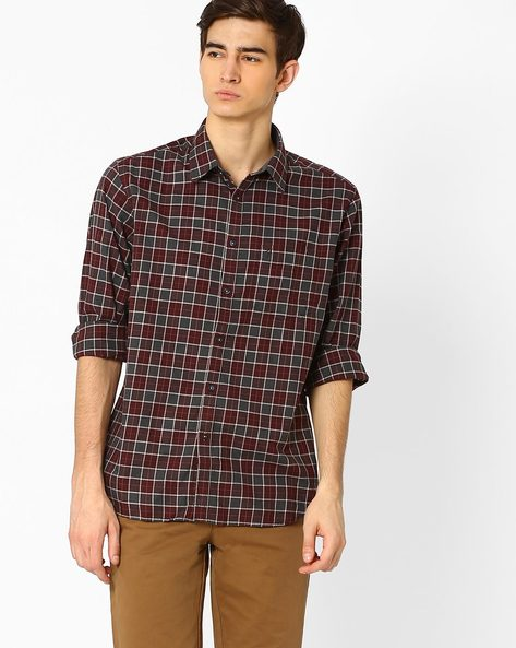Checked Shirt With Patch Pocket By INDIAN TERRAIN ( Wine )