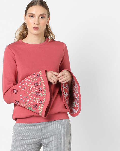 Crew-Neck Sweatshirt With Bell Sleeves By Femella ( Rose )
